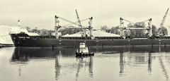 Pusher and Freighter (PAJ880) Tags: bilk carrier taurus two pusher merit workboat eastern salt chelsea ma bw mono urban waterfront freighter