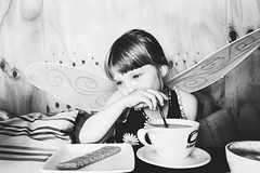 (jeanpichot) Tags: damatteo gothenburg wood bright cup spoon looking bw morning coffeeshop cookie girl child wings hotchocolate