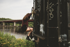 down by the river (Christopher Mongeau) Tags: railroad bridge summer girl train river graffiti jump nikon kate providence boxcar chrismongeau