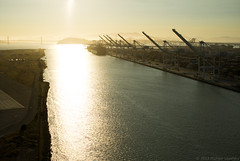 Backlit estuary (Michael Layefsky) Tags: california aerial photograph baybridge sanfranciscobay kap alameda runway kiteaerialphotography navalairstation portofoakland oaklandestuary