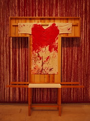 "Hermann Nitsch ""Splatter Paint with Painting Shirt""  - - So well corresponding with the 2 paintings, but much too big - The Variable, a blindtext ~ Die Variable, ein Blindtext - 2 Paintings wanting a neighbour - Unanswered Request for a Painting - Kimono (hedbavny) Tags: red rot art eh rose wall shirt museum painting design costume wand kunst pomegranate klimt exhibition clothes collection mq hi kimono weaver cloth kaftan gustavklimt placeholder weber tapestry ausstellung draft request wein ih nitsch blut artcollection jh orgie conceptualart kleidung privat kauf passepartout malerei kunstsammlung hermannnitsch sammlung hemd entwurf kostm gemlde kutte schtten bekleidung granatapfel wienvienna sterreichaustria dionysisch blutrot abgelegt ausgezogen museumleopold privateartcollection privatsammlung schttbild musterbogen besudeln unbeantwortet hedbavny hedbavnyingrid ingridhedbavny malhemd beflecken"
