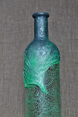 Hand painted decoupage decorative wine bottle with mehndi patterns. Green color. (Soul_Made_Art) Tags: green art bottle handmade etsy mehendi mehndi decoupage hennadesigns