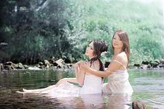 River Goddess (M.D Art) Tags: girls white sexy wet girl grass hair greek pond glamour bath rocks venus dress goddess divine together brunette bathing gown naiad