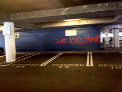 Homie Philosophy (collecthedots) Tags: orange inspiration typography words grafitti parking lot philosophy just be homie