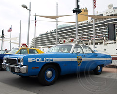 Vintage NYPD 1973 Plymouth Police Car, New York City (jag9889) Tags: show nyc blue sea ny newyork classic car museum vintage automobile antique manhattan space air plymouth police nypd deck transportation vehicle intrepid 1970s department 1973 officer lawenforcement finest 2011 firstresponders newyorkcitypolicedepartment pier86 y2011 jag9889