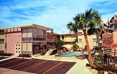 Sea Chateau Fort Lauderdale FL (Edge and corner wear) Tags: sign modern vintage fence hotel pc inn neon florida no postcard modernism motel lodge chrome motor fl lower aaa midcentury