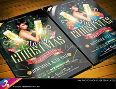 Classy Christmas Party Flyer Templates (B DESIGNS INC) Tags: christmas xmas blue winter red holiday green leaves stars gold patterns champagne silk garland wreath gifts drinks bow mistletoe swirls streamers candycane classy clubflyer partyflyer damask upscale champagneglass