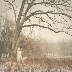 345 (m.clemm) Tags: winter portrait woman selfportrait snow cold tree girl field fairytale self square 50mm branches romantic faceless 365 selfie
