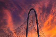Margaret Hunt Hill Bridge Sunset 2 (Mike Mezeul II Photography) Tags: sunset sky color clouds skyscape landscape dallas nikon texas vibrant margarethunthillbridge