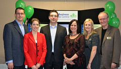 Monte with employees of the Business Help Centre of Middlesex County, celebrating the season and Centre' reciept of an Ontario Trillium Foundation Grant