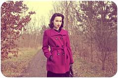 purple coat 1 (viandeviolet) Tags: winter black vintage outfit purple coat velvet retro pinup pincurls tbars