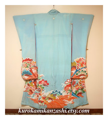 Brilliant Sky (Kurokami) Tags: wedding ladies girls sky woman toronto ontario canada girl japan pine lady vintage asian japanese bride fan women asia antique turquoise traditional formal silk wave crest kimono bridal clover matsu crested brilliant kitsuke bough nami furisode sensu kakeshita