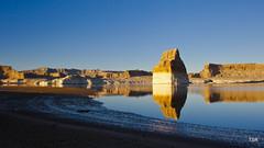 Lone Rock in Lake Powell (doveoggi) Tags: reflection beach utah shore monolith lakepowell 2298