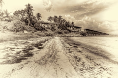 Lines in the Sand (grandalloliver) Tags: bridge sea vacation blackandwhite seascape beach nature water clouds photoshop canon island sand raw wideangle tropical tiff hdr floridakeys bahiahonda topaz faa floridastatepark photomatix bahiahondastatepark bahaihonda canonefs1755mmf28usm garyoliver rebelxsi canonxsi topazadjust fineartamerica topazblackandwhite grandalloliver grandalloliverphoto