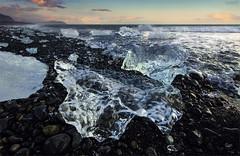 Untitled. (J.M.Fransen (jero 053)) Tags: light ice beach water glass evening iceland europe mood empty wave glacier bleu explore jero jokulsarlon landschap jkulsrln lightroom landschape canon5dmk2 17mmtse canon17mmtse jeroenfransen jero053