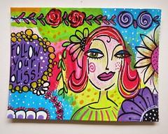Another postcard (MakeArtBeHappy) Tags: flowers colors face acrylic postcard card doodles mailart doodling artcard boldcolors happyart colorfulart doodlesonpaint