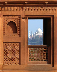 Framed (jo92photos) Tags: tajmahal agra redfort viewthrough naturalframe fretwork window red sandstone india 15challengeswinner