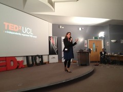 Sofie Sandell TEDxUCL speaking on stage