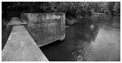 Sowers Mill (daveelmore) Tags: bw panorama river virginia blackwhite ruins dam va littleriver stitchedpanorama mzuiko17mm128 sowersmill