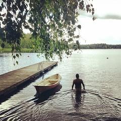(Freezing) Midsummer skinny dipping! (Toni Kaarttinen) Tags: bear lake man ass swimming suomi finland naked nude square pier boat back finnland midsummer butt squareformat nudist birch rise chubby veikkola skinnydipping finlandia  finlande finlndia finnorszg finlanda finlndia  finnlando iphoneography  instagramapp uploaded:by=instagram foursquare:venue=4ff6d116e4b038644b22f893