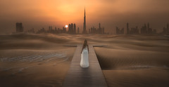 BEYOND THE LAND (Titanium007) Tags: dubai unitedarabemirates uae desert sand sunset burjkhalifa skyline skyscrapers city
