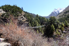 Hngebrcke ber den Fluss auf dem Weg nach Tengboche (Alfesto) Tags: nepal trekking wanderung tengboche himalaya khumbuarea sagarmathanationalpark namche