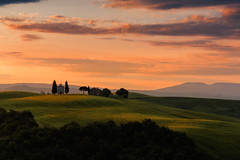 Madonna di Vitaleta at sunrise (methariorn78) Tags: landscape paesaggio sunrise alba hills colline valdorcia val dorcia tuscany toscana nature natura golden warmlight sunlight colors colori colorful red orange green fields church chiesa vitaleta italy italia italian sanquirico shadow ombra contrast contrasto details glow soft dettaglio