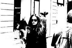 Eye contact (www.streetphotography-berlin.com) Tags: streetphotography street streetlife portrait woman elegant sunglasses abstract blackandwhite blackwhite florence tuscany italy