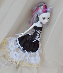 Black white and gold MH dress (ceressiass) Tags: mh monster high doll black white golden dress corset skirt gothic goth mattel handmade sewing etsy shop lolita kawaii catherine de mew monsterhigh ceressbjdclothes clothing clothes ooak
