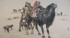The Children and Father Sitting on the Back of Camels Painting by Huang Zhou 黃冑作駱駝背上的小學生與父親圖