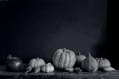 a mono version~~Explored (Wendy:) Tags: vegetables stilllife explored pumpkins onions shallots garlic