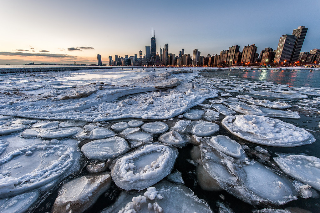 Some broken ice at the North Ave. Beach Jetty on a cold winter morning.