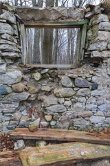 Grey Days. #Window Wednesday (Note-ables by Lynn) Tags: grey stonewall brucetrail spiritrock wiarton window ruins remnants fallingapart