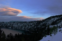 The Beauty of Winter (Dhari .K ALFawzan) Tags: lake snow sky outdoor wilderness winter sunset usa ca hike canon landscape clouds mountain maountainside frozen travel