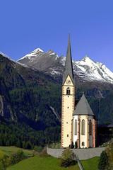 1996.09. Austria -Heiligenblut, (péterfarsang) Tags: austria heiligenblut building catholic church landscape street diapositive alps