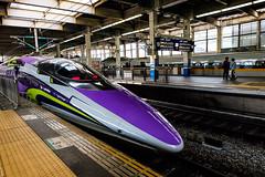 Projectile (Douguerreotype) Tags: japan train shinkansen people transport travel platform station tracks rails hiroshima purple