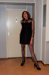 Restroom visit. (sabine57) Tags: crossdressing transvestism crossdress crossdresser cd tgirl tranny transgender transvestite tv travestie drag pumps highheels pantyhose tights patternedpantyhose patternedtights dress lbd blackdress