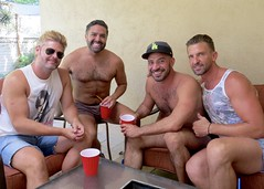 IMG_9952 (danimaniacs) Tags: party shirtless man guy hot hunk smile hat cap beard scruff swimsuit bulge trunks
