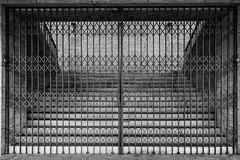 Please use another staircase! (mimo b. rokket) Tags: schwarzweis sw bw blackandwhite monochrome monochrom graphisch lines linien gate tor irongate treppe stair staircase treppenaufgang abstract abstrakt geometrie geometry symmetry symmetrie berlin deutschland germany olympiastadion repetition