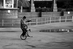 Bicycle Ballet. Windsor, ON. (Pat86) Tags: photooftheday windsor nikond500 charlesclarksquare man bicycle tricks streetphotography blackandwhite