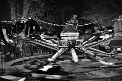 Kptn Balu is landing (RadarOReilly) Tags: christmasmarket weihnachtsmarkt letmathe iserlohn kptnbalu kirmes funfair karussell merrygoround sw schwarzweis bw blackwhite monochrome
