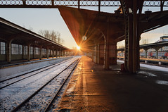 First sun rays (Mistah_Grape) Tags: urban morning nikon city road light rays sunrise stpetersburg russia vitebskiy railway station train санктпетербург