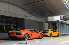 Orange Combo (FreeLunchPhotos) Tags: orange marina singapore papaya mclaren mandarin lamborghini arancio mp4 argos 12c aventador mp412c lp700 lp7004