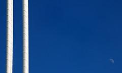 the moon and calatrava (valencia, spain) (bloodybee) Tags: street bridge blue sky españa moon white detail valencia lines architecture design spain europe steel minimal half minimalism suspensionbridge santiagocalatrava comunidadvalenciana daymoon cityofartsandsciences ciutatdelesartsilesciències pontdelassutdelor