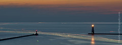 Frankfort LIghts ... red right returning (Ken Scott) Tags: longexposure summer usa boats timelapse twilight michigan august stack lakemichigan greatlakes lighttrails freshwater benziecounty 30pics 2013 panoramacrop frankfortlights