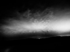 . (hornbeck) Tags: blackandwhite bw oklahoma night clouds driving bnw