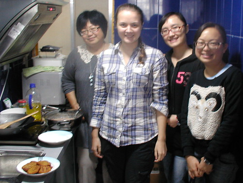 cooking lunch, Anna with other English teachers Sandy Yue, Tara and Dori