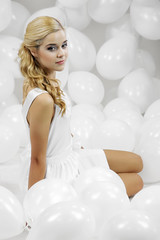 Dóri (szb78) Tags: portrait woman white hot girl beautiful beauty fashion female model glamour dress many balloon blonde attractive hungarian photoexpo