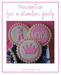 Sleepover Cookies (Sweet Goosie Girl) Tags: pink girls party princess monogram slumber preppy crown pajamas sleepover personalized girlsnightout decoratedsugarcookies