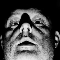 Mugshot (Number Johnny 5) Tags: portrait bw self 50mm dxo processed ilford selfy selfie strobist d7000 sb700 strobie